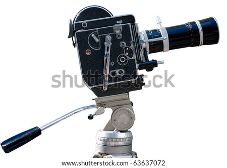 Vintage movie camera on a tripod, isolated on white