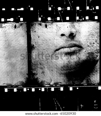 Vintage movie film strips for background - stock photo