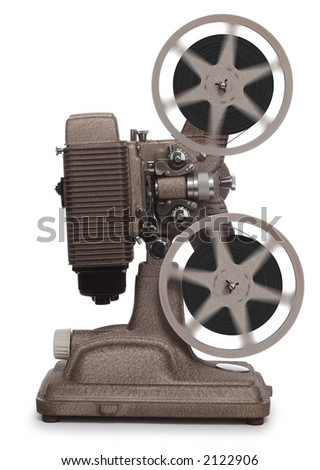 vintage movie projector on white - stock photo