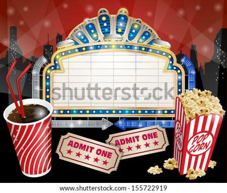 Vintage Movie Sign with Popcorn - stock photo