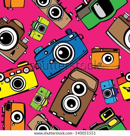 vintage multicolor film photo cameras  seamless pattern - stock photo