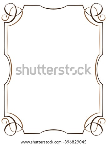 Vintage multilayer vertical frame with swirls - stock photo