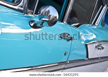 Vintage muscle cars with close ups. Added chrome and details for looks. - stock photo