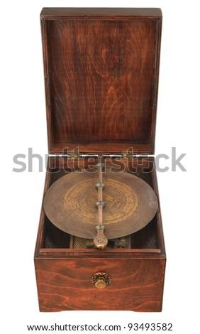 vintage music box over white - stock photo