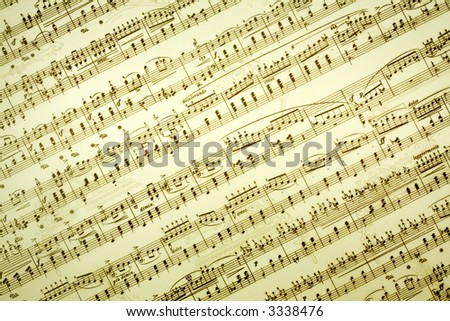 Vintage music notes background - stock photo