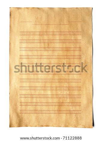 Vintage Music score paper on white background. - stock photo