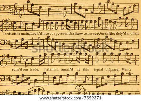 Vintage music sheet published in London in 1753.