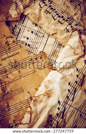 Vintage music sheets background - stock photo