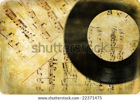 vintage musical background - stock photo