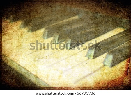 Vintage musical background, piano closeup - stock photo