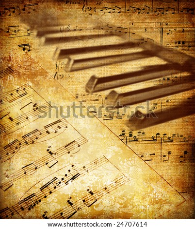 vintage musical background with piano keys - stock photo