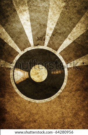 vintage musical background with vinyl LP - stock photo