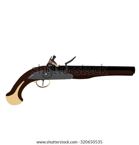 Vintage musket gun raster isolated, flintlock gun - stock photo