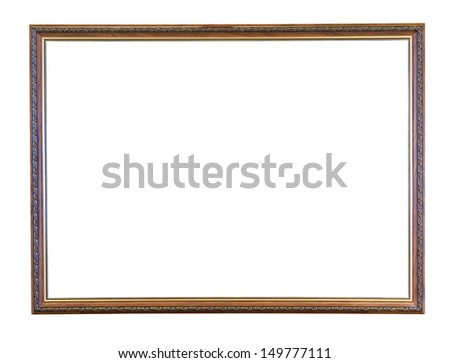 vintage narrow brown picture frame with cutout canvas isolated on white background