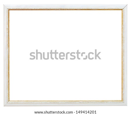 vintage narrow white picture frame with cutout canvas isolated on white background - stock photo