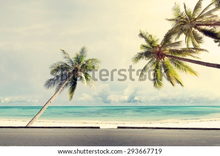 Vintage nature background of coconut palm tree on tropical beach blue sky with sunlight of morning in summer,  retro effect filter - stock photo