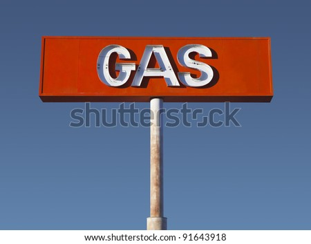 Vintage neon gas sign in California's Mojave Desert. - stock photo