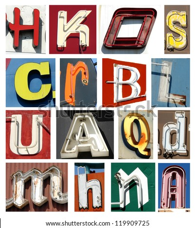vintage neon letters collection - stock photo