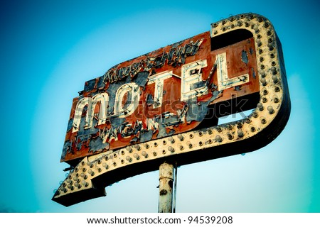 Vintage Neon Motel Sign - stock photo