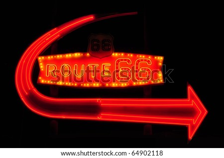 Vintage neon Route 66 sign - stock photo