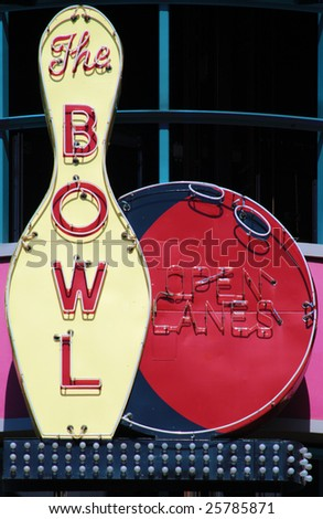 Vintage neon sign 'The Bowl' - stock photo