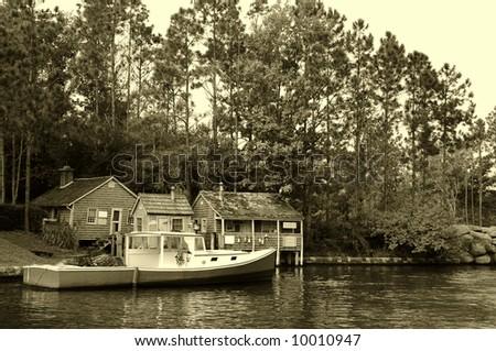 Vintage New England scenery - stock photo
