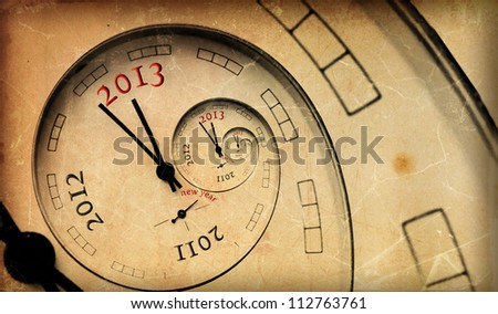 Vintage 2013 new year concept.  Infinity spiral with numbers. - stock photo