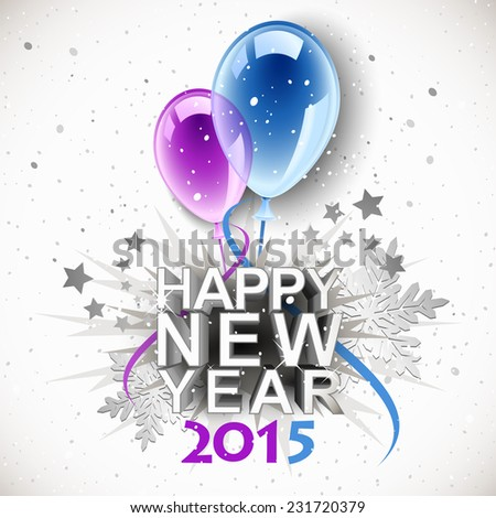 Vintage New Year 2015 with balloons - stock photo