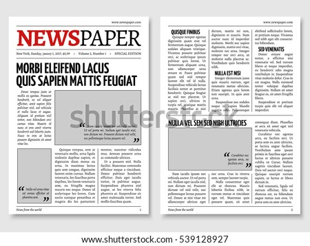 Vintage Newspaper Journal Template Paper Tabloid Stock Illustration