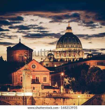 Vintage Night view at St. Peter's cathedral in Rome, Italy - stock photo