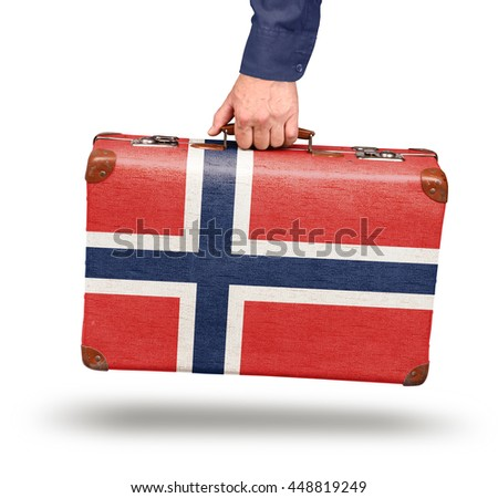 Vintage Norwegian flag suitcase isolated on white travel to Norway concept - stock photo