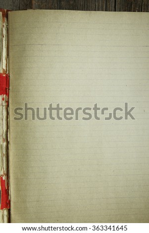 vintage notebook: paper with lines for letter and binding - stock photo