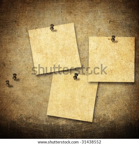vintage notes on board - stock photo