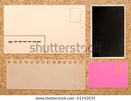 vintage notes over brown cork background