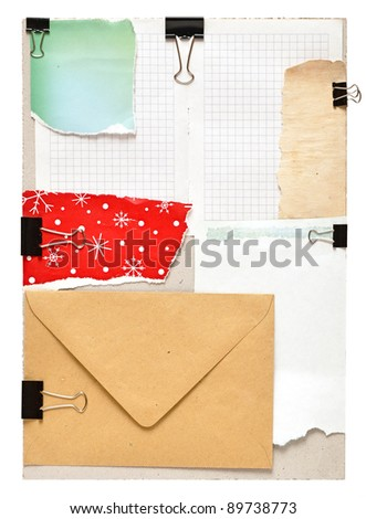 vintage notes over grey cardboard - stock photo