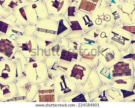 vintage objects photos collection - stock photo