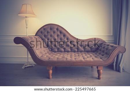 Vintage of brown sofa - stock photo