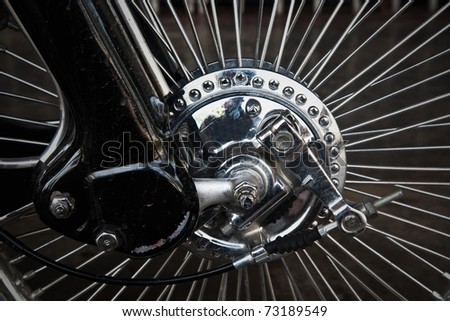 Vintage of motorbike wheel - stock photo