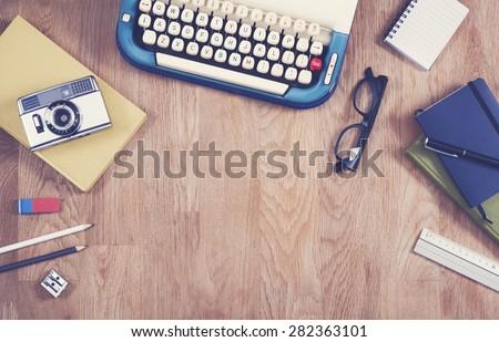 Vintage office desk - hero header image - stock photo