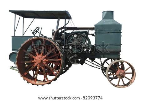 vintage oil pull tractor ran on kerosene on a white background - stock photo