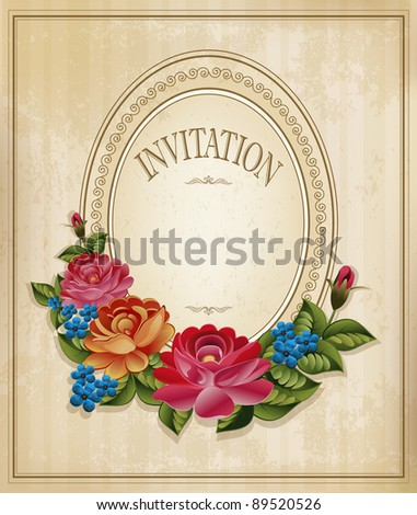 vintage old background with  roses on a faded paper (JPEG version) - stock photo