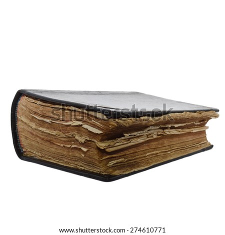 Vintage old book isolate on a white background - stock photo