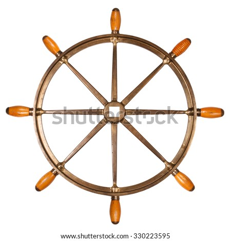 Vintage old brass ship steering wheel rudder isolated on white background - stock photo