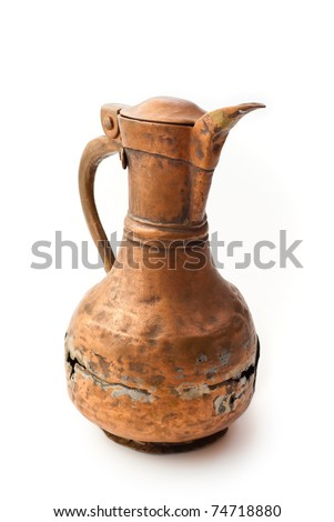 vintage old broken vessel isolated over white - stock photo