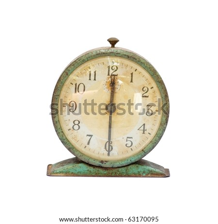 vintage old clock isolated - stock photo