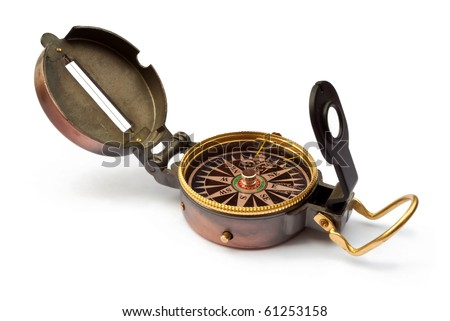 Vintage old compass isolated on white - stock photo