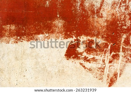 Vintage old damaged wall with cracks, scratches, painted with red paint. Textured background for your concept or project. Great background or texture. - stock photo