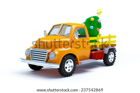 Vintage old farm truck with Christmas tree isolated on white - stock photo
