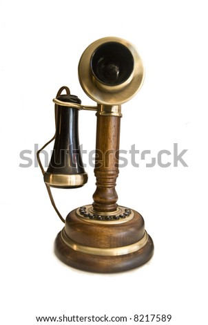 vintage old fashioned brown  phone isolated over white - stock photo