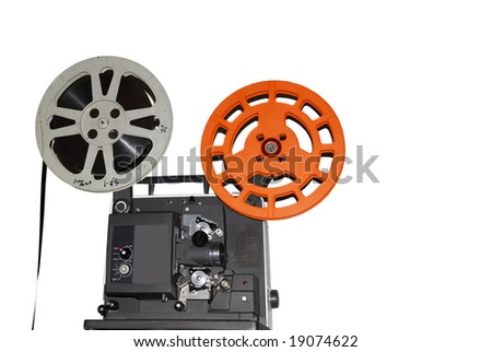 Vintage old fashioned movie projector isolated on white background - stock photo